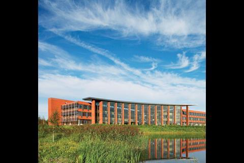 Materials company Hanson's Kimberley office development in Stewartby, Bedfordshire, makes extensive use of brick, one of the mass-produced components whose lead times are set to increase,  due to stock levels being run down and kilns closing